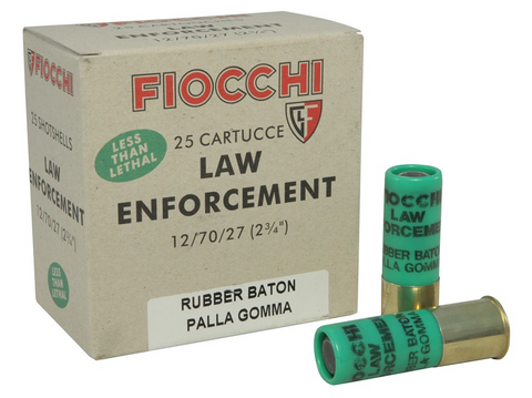 FIOCCHI 12 GAUGE 2 3/4 4.8 GRAM RUBBER BATON SLUG - BOX OF 25