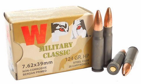 WOLF MILLITARY CLASSIC 7.62X39 124 GR. FMJ AMMUNITION - 20 ROUNDS