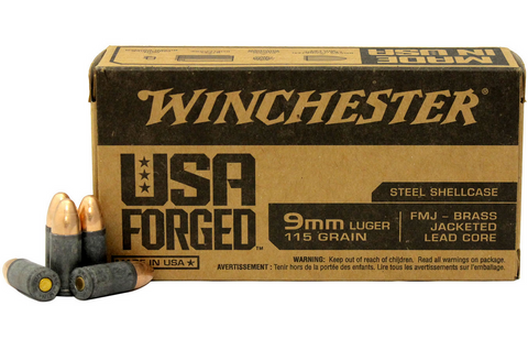 WINCHESTER 9MM LUGER 115 GR. FMJ STEEL CASE AMMUINITION - 50 ROUNDS