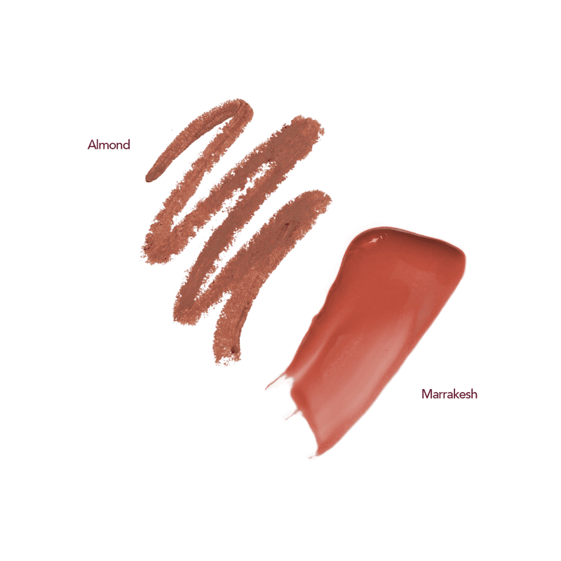 persona almond lip liner and marrakesh lip gloss swatches
