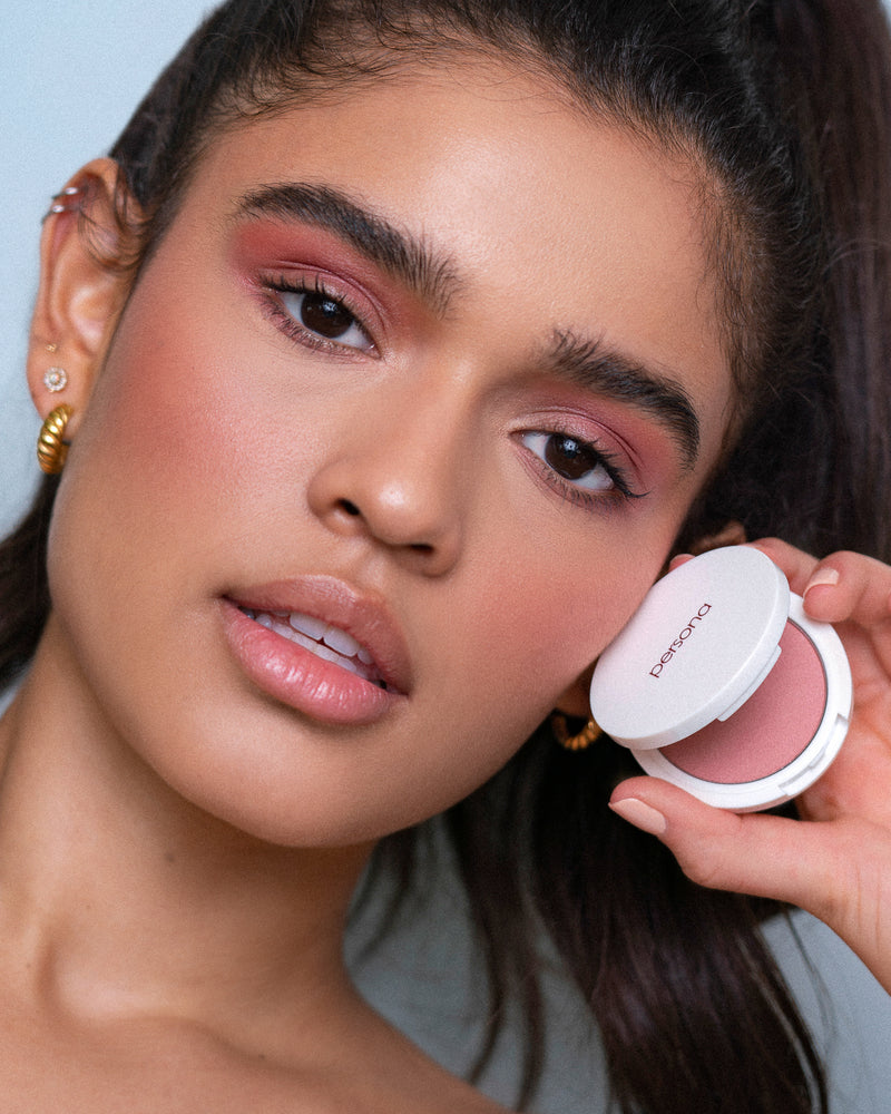 model wearing superblush in carmel mauve