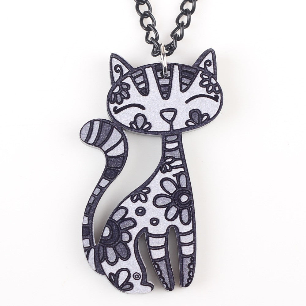 Abstract happy cat pendant necklace four paw love abstract happy cat pendant necklace mozeypictures Choice Image