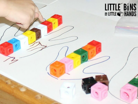 toddler math activity: measuring with counter blocks