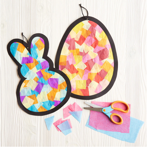 easter activities - tissue paper stained glass