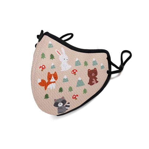 Children's mask from Happy Masks printed with cartoon woodland creatures