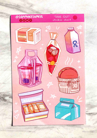 Food-themed stickers by Sam Makes a Mess on Etsy