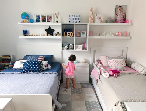 Pink and blue shared kids' room
