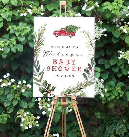 Christmas-themed winter baby shower welcome sign