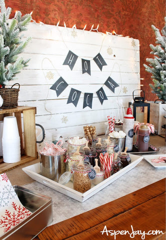 Hot cocoa bar at a winter baby shower