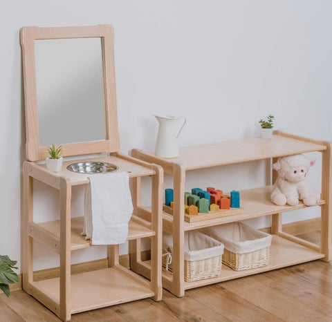 Functional toy wooden structures in a Montessori nursery