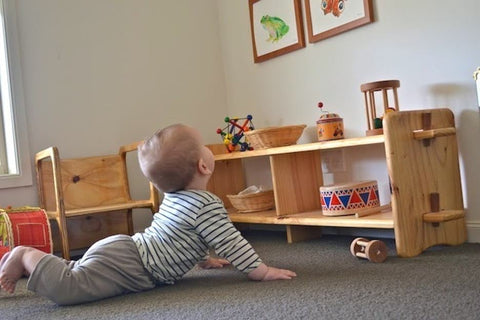 A baby gazes at low-hung pictures from the floor