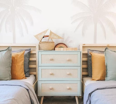 Neutral-colored shared children's bedroom
