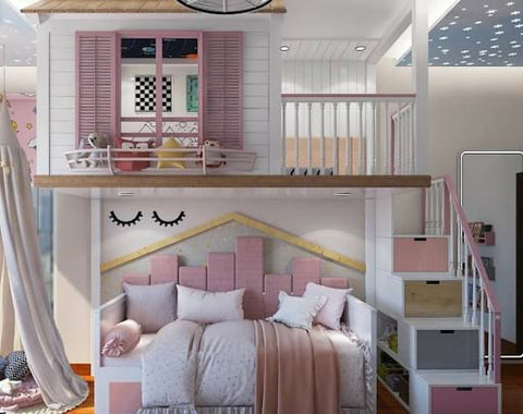Shared kids' room with a lofted playhouse