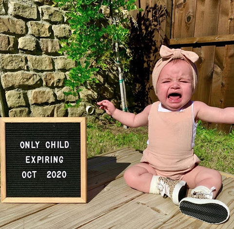 Sibling pregnancy announcement - only child expiring letterboard
