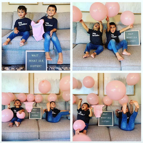 Sibling pregnancy announcement with balloons