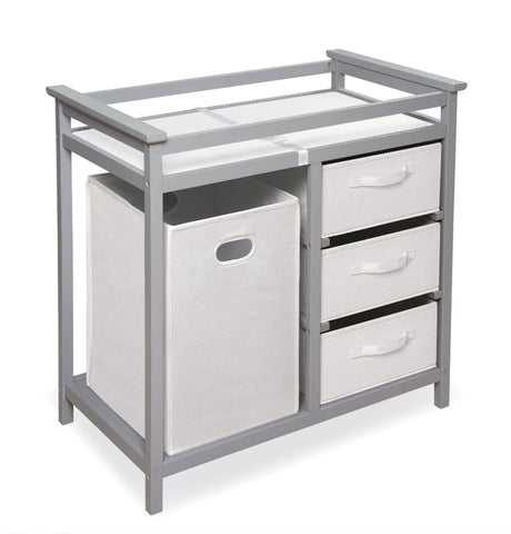 Nursery changing table with built-in hamper and drawers