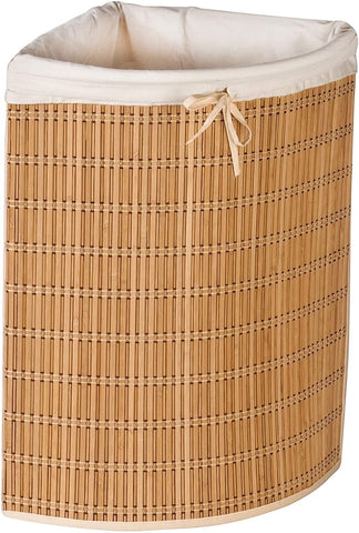 Wicker laundry designed to fit in a corner