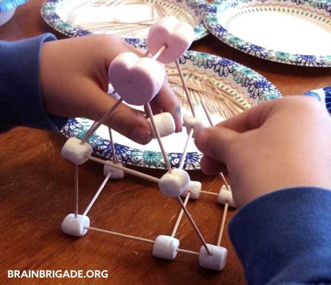 math activity for toddlers: marshmallow structure