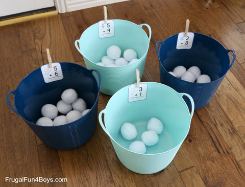 toddler math activity: snowball math game