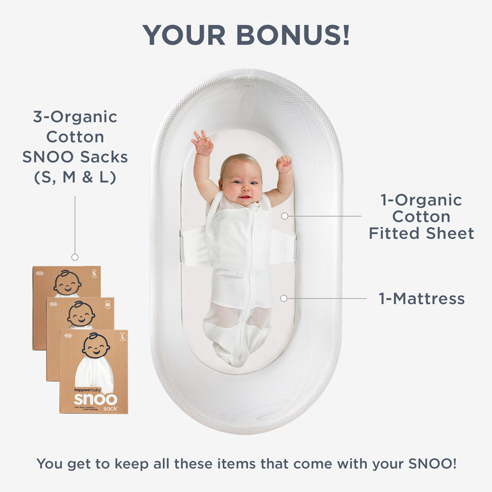 Your bonus 3 organic cotton SNOO Sacks (S, M & L), 1 organic cotton fitted sheet, 1 mattress