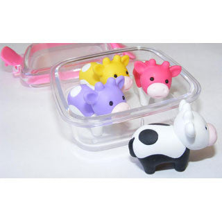 4 Cow Erasers in a Box - eBeanstalk