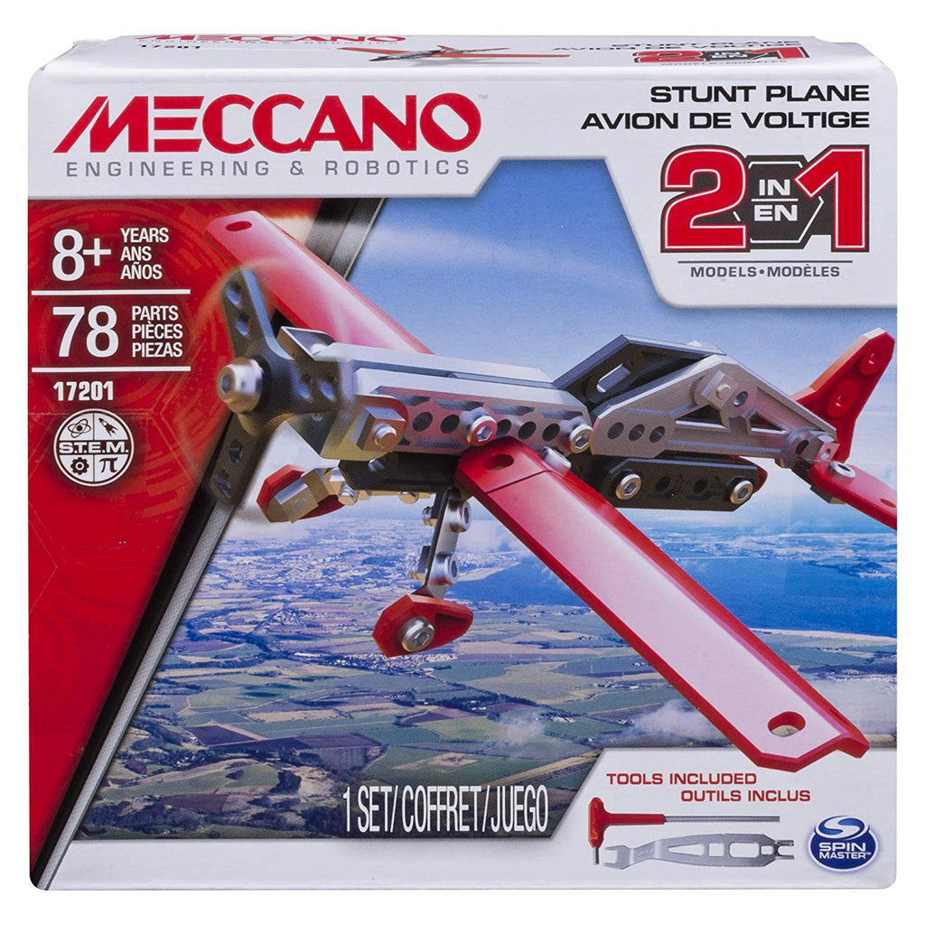 Meccano 2 in 1 Stunt Plane Model Building Kit