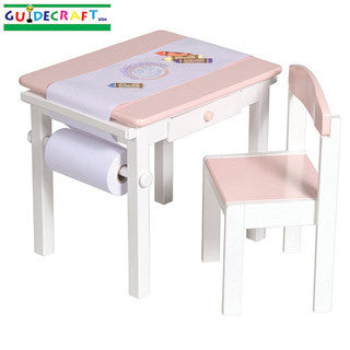 Pink Art Table and Chairs - Guidecraft - eBeanstalk