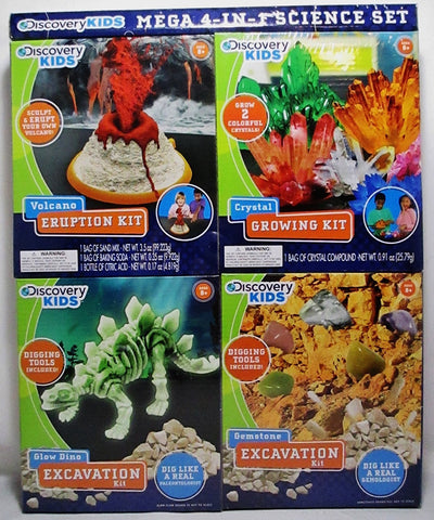 Discovery Kids Mega 4 in 1 Science Set includes Crystal Volcano Crystal and Gemstone