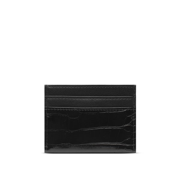 Black Crocidile Alex Card Holder Front | boogie + birdie