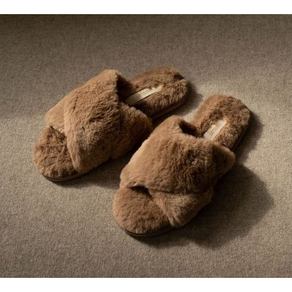 Mocha Faux Fur Criss Cross Slippers