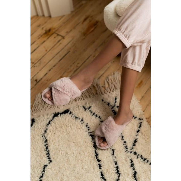 Peach Cream Faux Fur Criss Cross Slippers