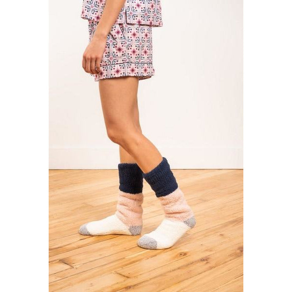 Navy + Pink Colour Block Lounge Socks