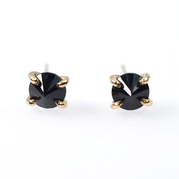 Gold Faceted Black Spinel Stud Earrings