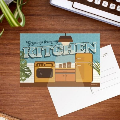 Greetings from My Kitchen Postcard | boogie + birdie