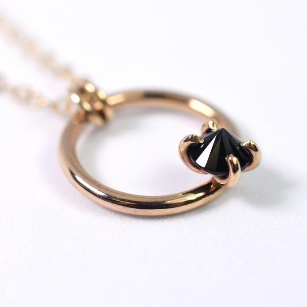 Gold Black Spinel Circle Necklace | boogie + birdie
