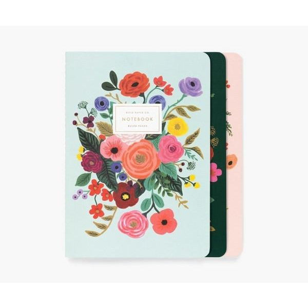Garden Party Stitched Notebooks - Set of 3