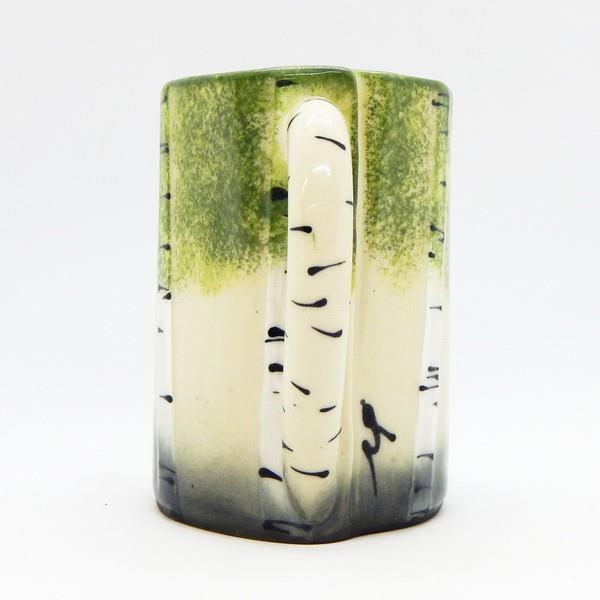 Green Birch Trees Ceramic Mug | Front | boogie + birdie