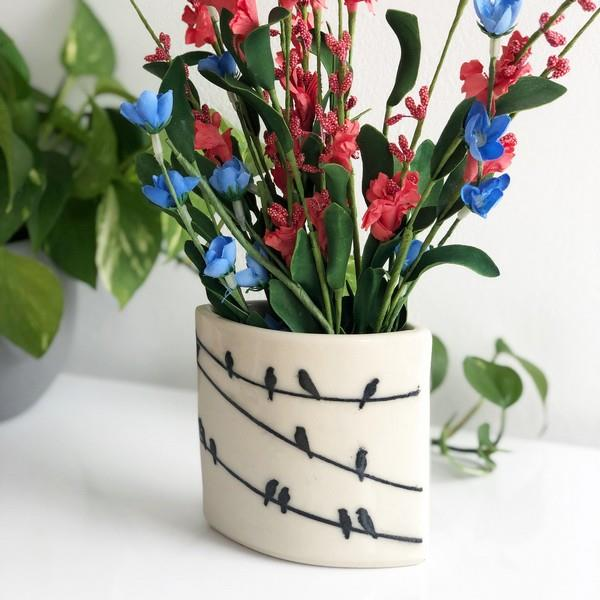 Crows On A Wire Short Vase | Front | boogie + birdie