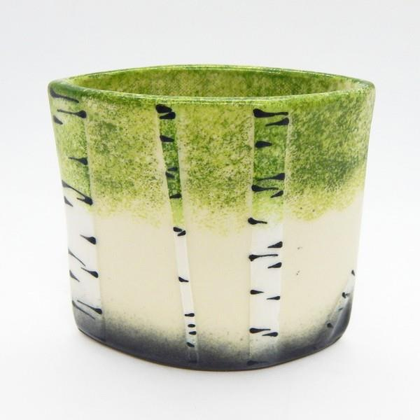 Green Birch Short Vase | Front | boogie + birdie