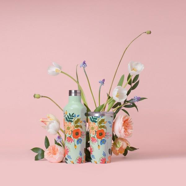 Mint Lively Floral Corkcicle Canteen | boogie + birdie