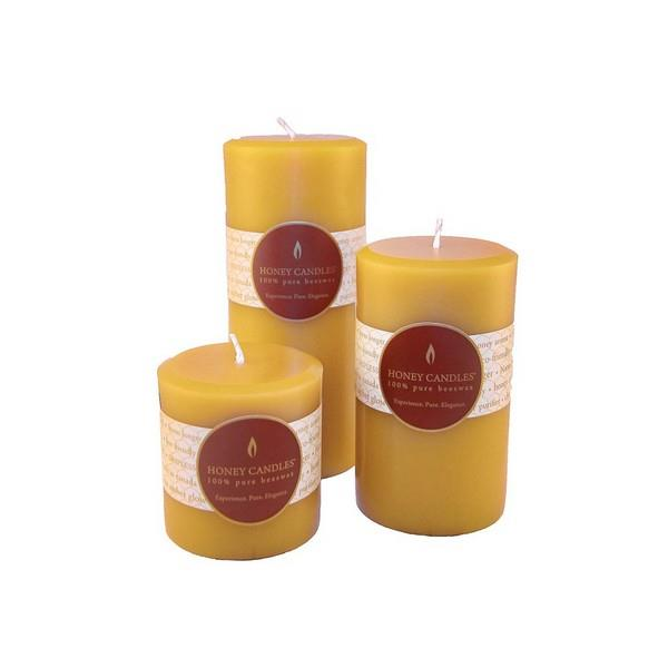 "3"" Natural Beeswax Pillar Candle 