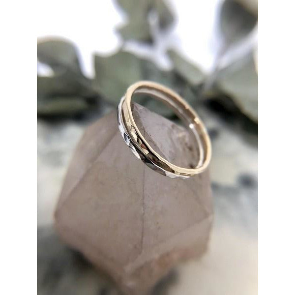 Gold Hammered Ring-Band | boogie + birdie