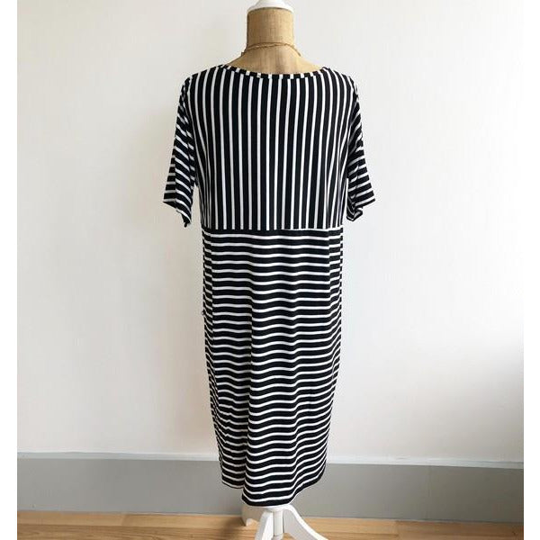 Black Striped Pocket Dress | boogie + birdie