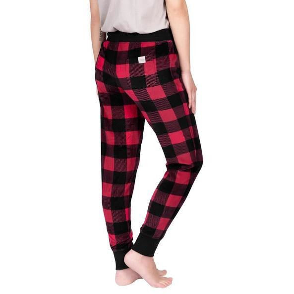 Red Buffalo Plaid Lounge Joggers | boogie + birdie
