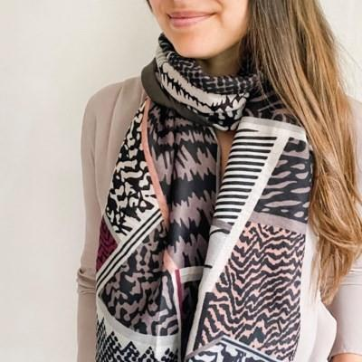 Grey Mixed Patterns Scarf | boogie + birdie
