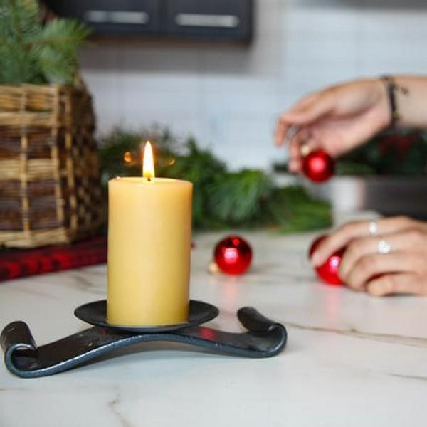 Small Round Pillar Beeswax Candle | boogie + birdie