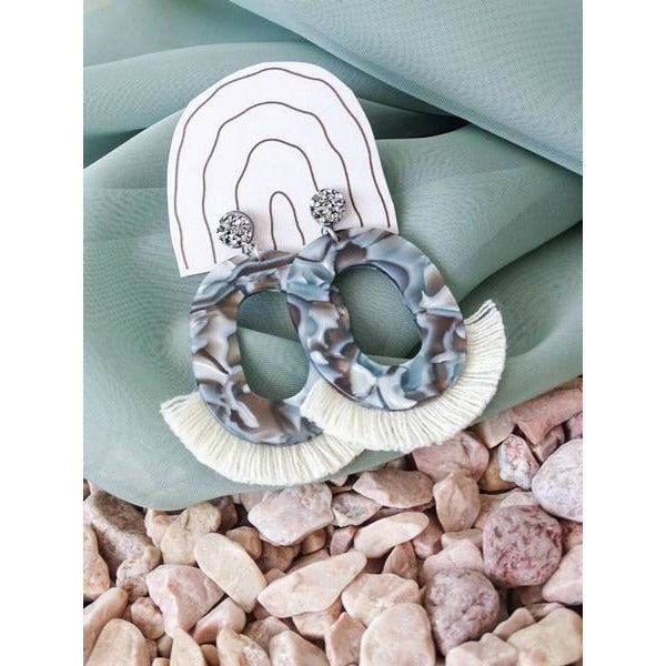 "Stale Grey Jackie ""O"" Fringe Earrings 