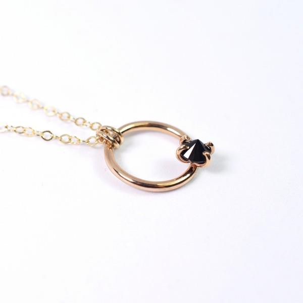 Black Spinel Circle Neckalce | Open Fire | boogie + birdie