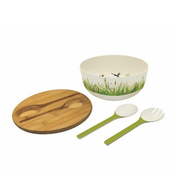 Meadow Buzz Bamboo Salad Bowl Set | boogie + birdie