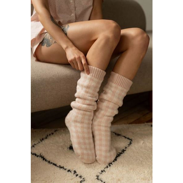 Peach Cream Gingham Lounge Socks